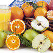 Orange Juice, Oranges and Apple — Stock Photo
