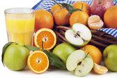 Orange Juice, Oranges and Apple — Stock Photo