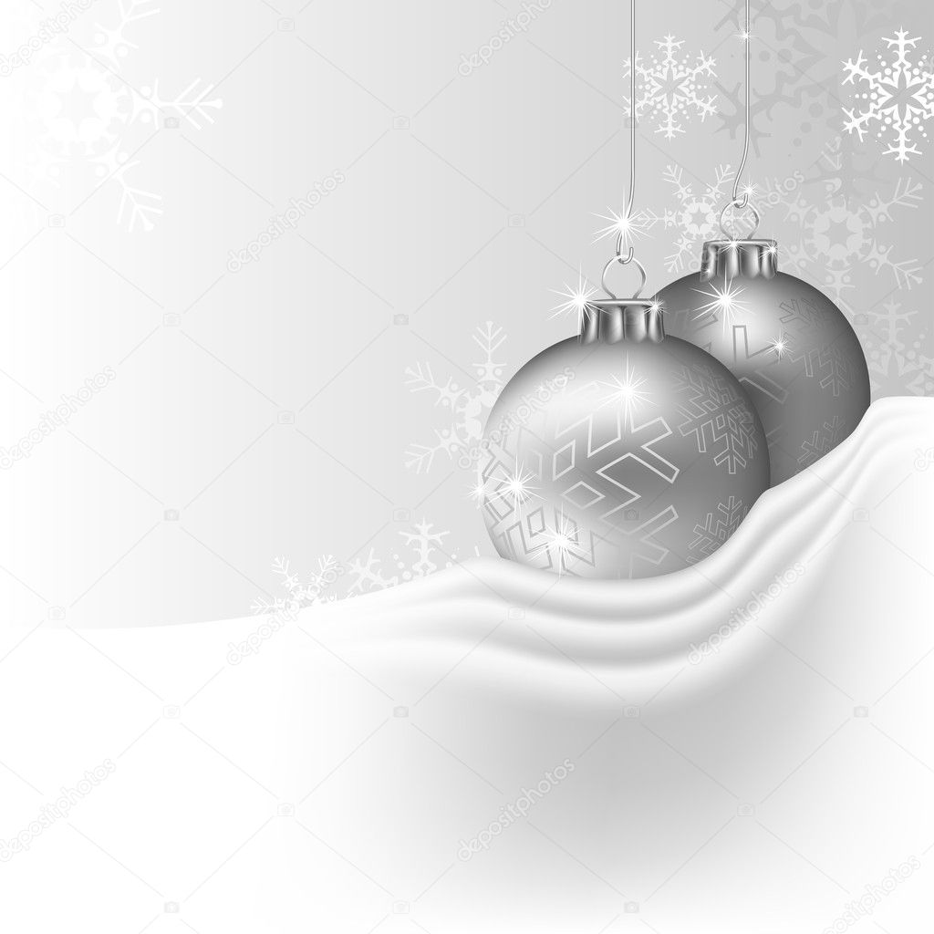 Silver Christmas Background - colored illustration, vector — Stock Vector #4241245
