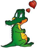 Amorous Crocodile — Stock Vector