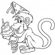 Monkey and Birthday Cake — Imagen vectorial