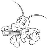 Grasshopper and Harmonica — Stock Vector