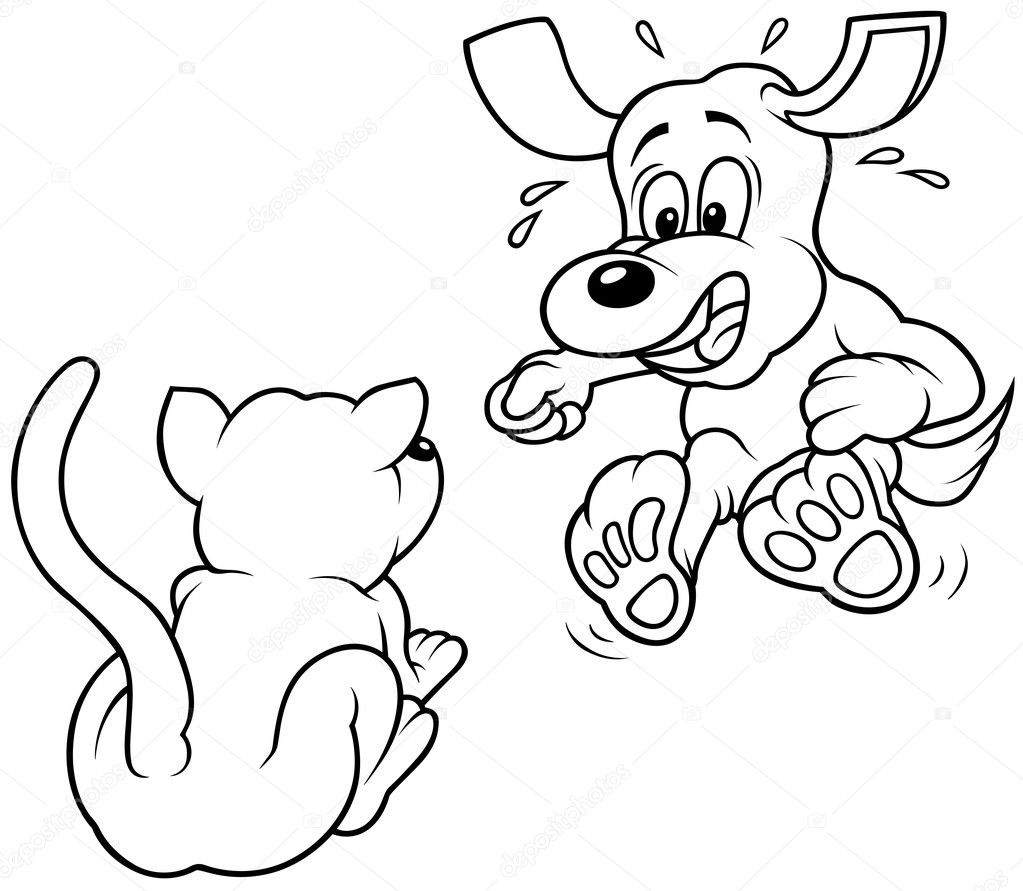 Terrified Dog - Black and White Cartoon illustration, Vector  Stock Vector #4674011