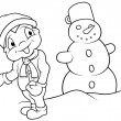 Boy and Snowman — Stock Vector #4688455