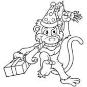 Monkey and Birthday Party — Stock Vector
