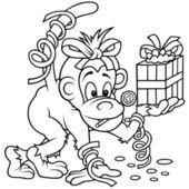 Monkey and Gift — Stock Vector