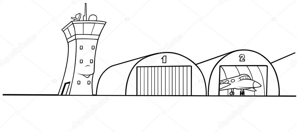 Airport Hangar - Black and White Cartoon illustration, Vector  Stock Vector #4743622