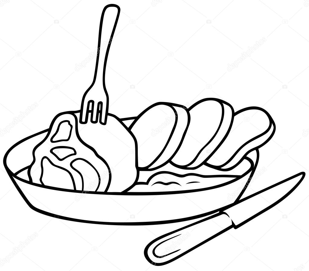 Pasta Clipart Black And White Square meal - black and whiteMeal Clipart Black And White