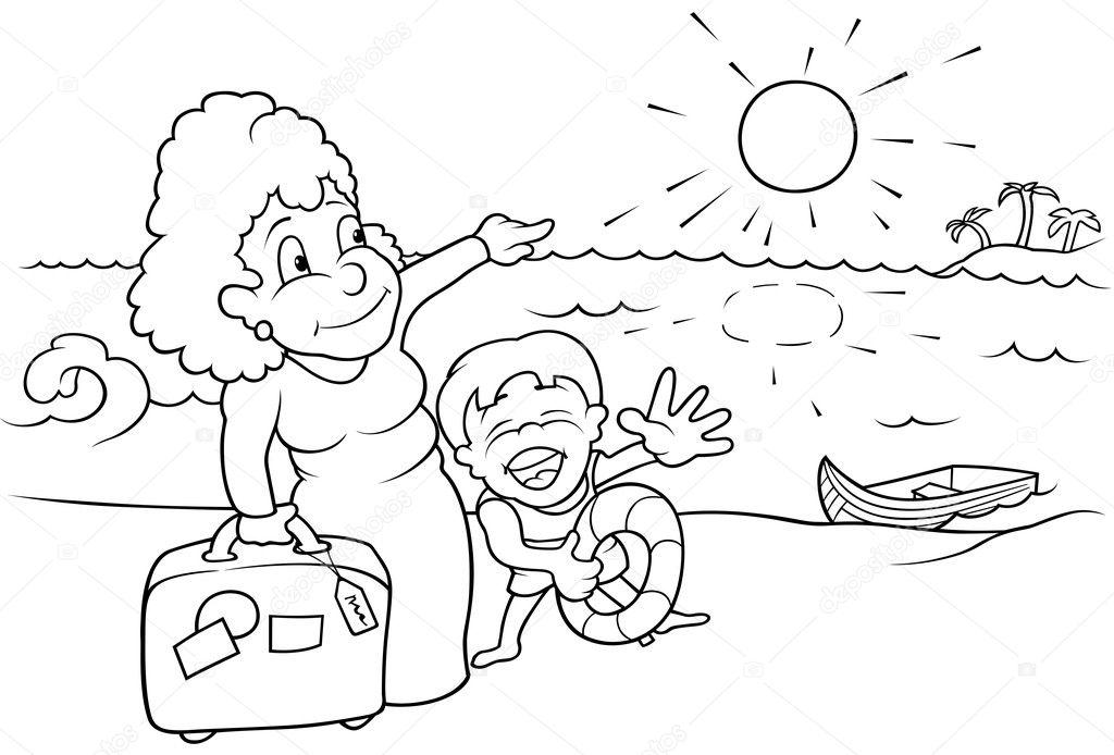 Vector Feliz Viaje Familia: Vector De Stock © Dero2010 #4757557