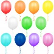 Colored Balloons Singles — Stock Vector