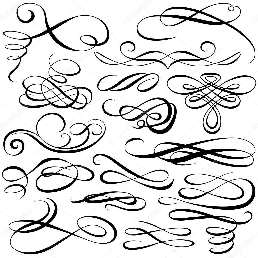 Calligraphic elements - black illustration, vector — Stock Vector #5003543