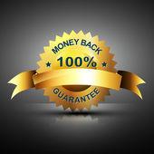 Monet back guarantee icon in golden color — Stock Vector