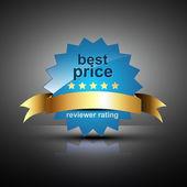 étiquette de prix meilleur vecteur avec ruban d'or — Vecteur