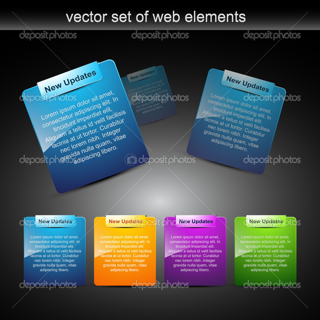 Website elements design elements label — Image vectorielle #4082890