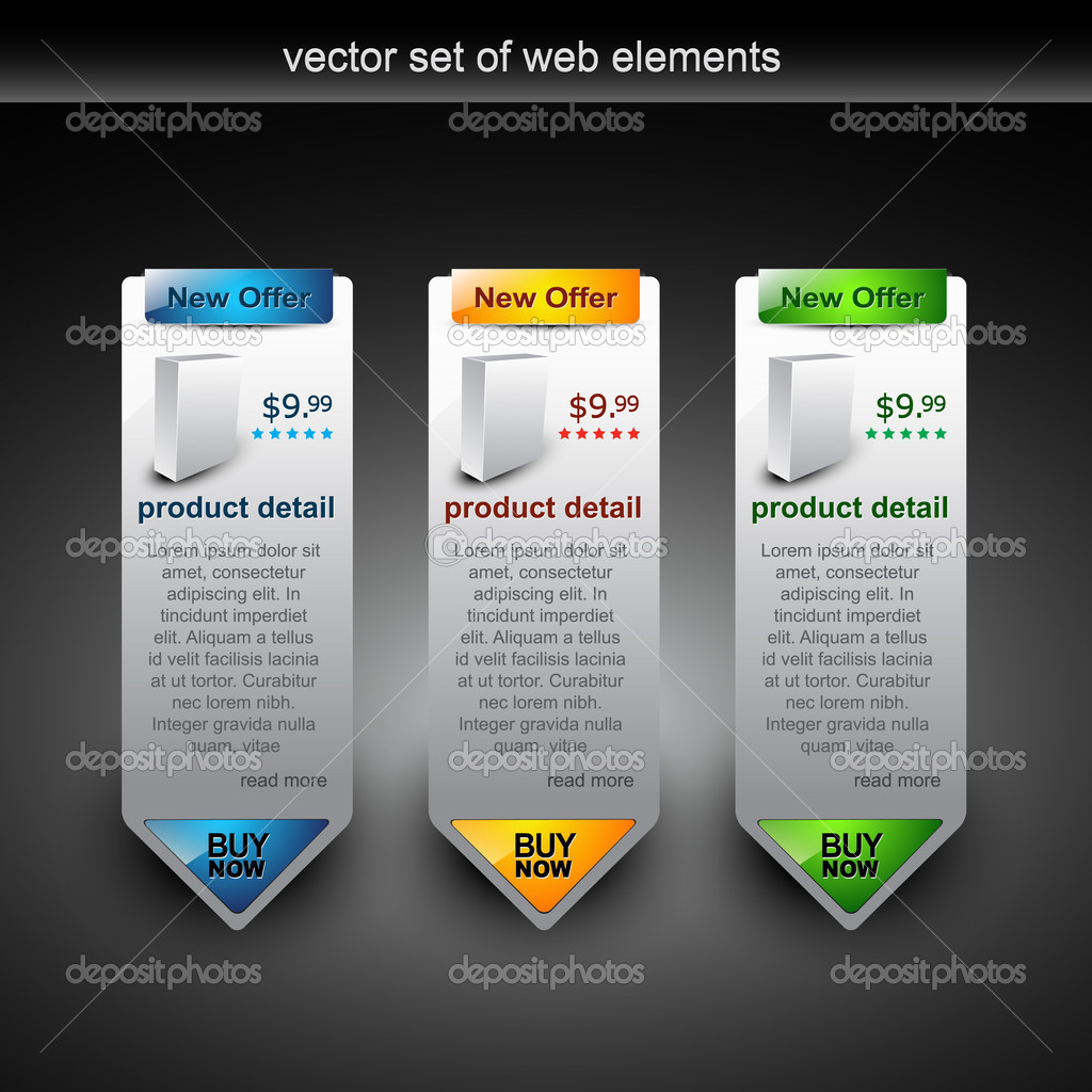 Web style elements with showing product for sale — Imagen vectorial #4082911