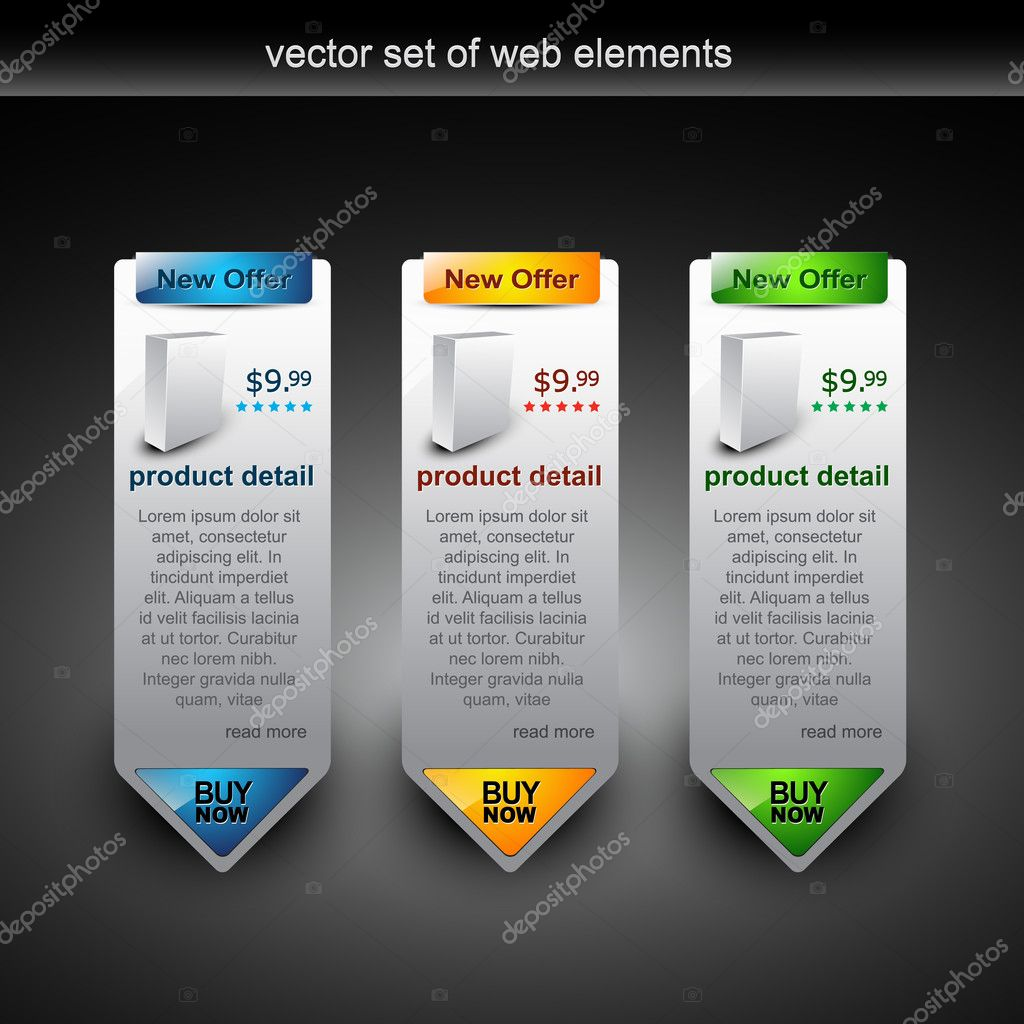 Web style elements with showing product for sale — Grafika wektorowa #4082911