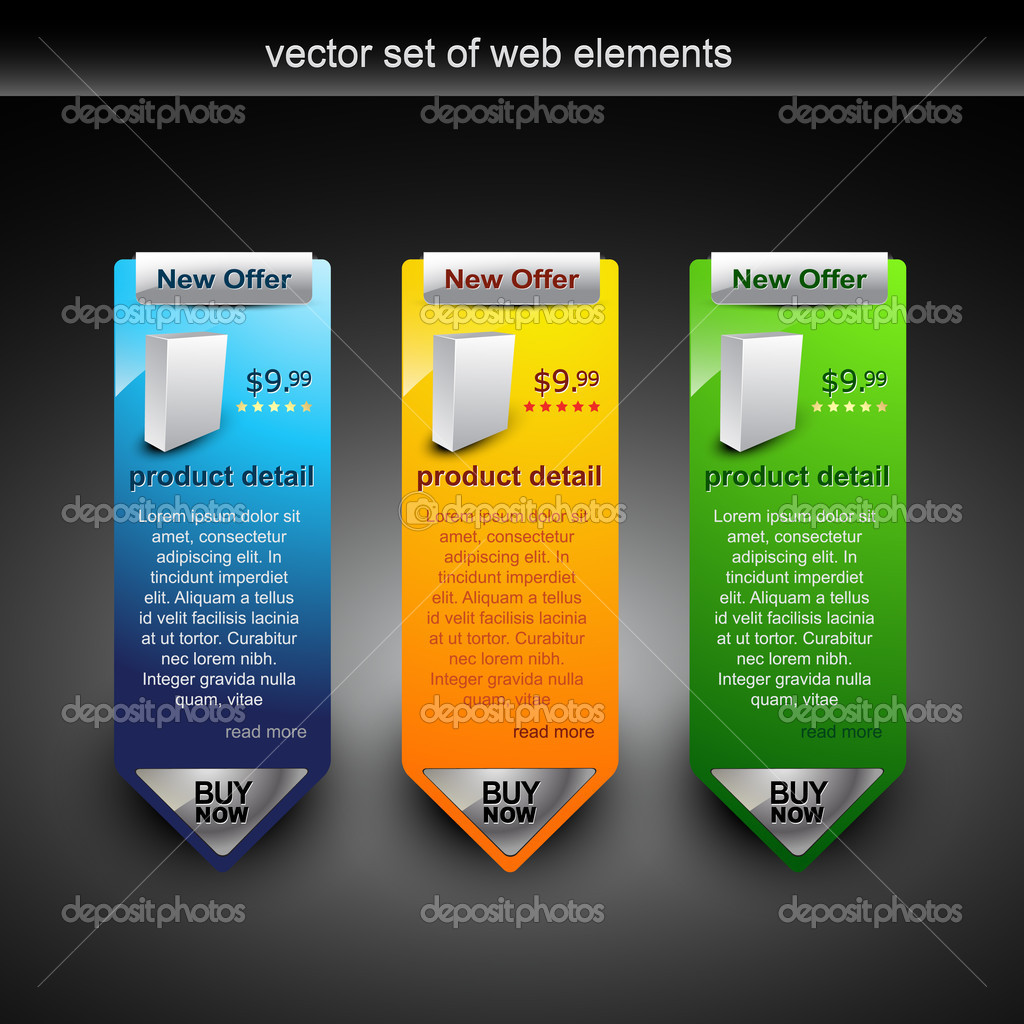 Web banner showing products rate with purchase button  Grafika wektorowa #4082925