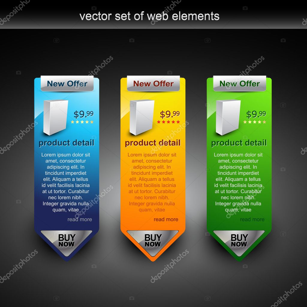Web banner showing products rate with purchase button — Stockvectorbeeld #4082925