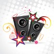 Funky music speakers with beautiful background — Stock Vector