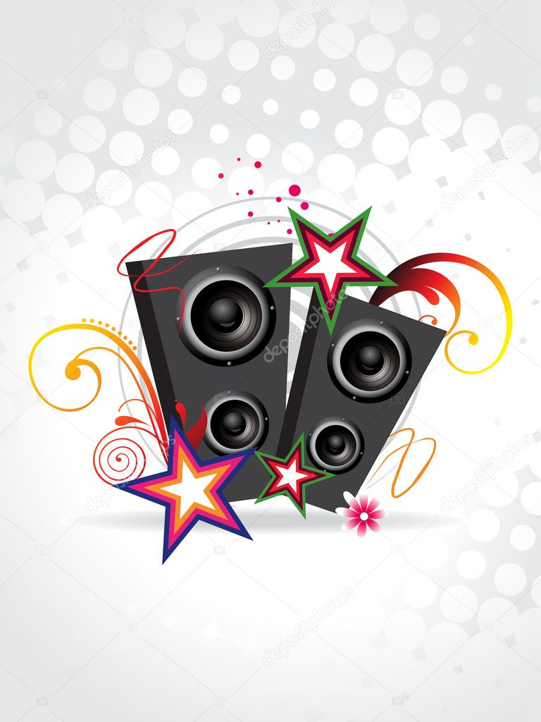 Funky music speakers with beautiful background — Stock ...