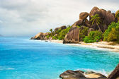 The beach with white sand at seychelles — Stock Photo