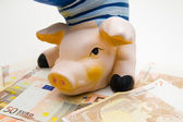 Happy pig on white background like money :) — Fotografia Stock