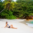 Anse Lanzio beach at Seychelles - Stock Photo