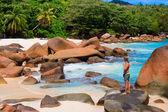 Beach at Seychelles — Stock Photo