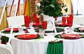 Dinner table setup - Italian Style — Stock Photo