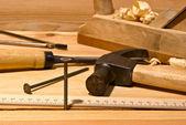 Nail and hammer — Stock Photo