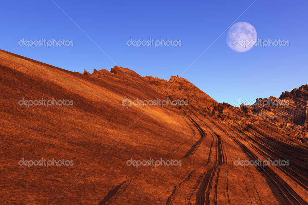 This image shows a rendered sugarloaf lump of rock with moon — Stock Photo #5311949