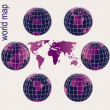 Stock Photo: Set of purple Earth globes and world map