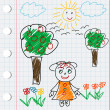 Cartoon doodle drawing with gril, flowers and trees - Stock Photo