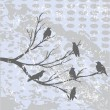 Winter landscape with crows — Foto Stock