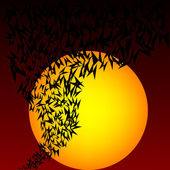 Halloween landscape with bats — Stock Photo