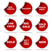 Set of red sale stickers and labels — Stock Photo