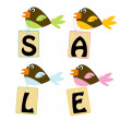 Birds with sale tags — Stock Photo