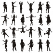 Set of children silhouettes — 图库照片