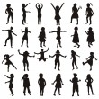 Set of children silhouettes — Stockfoto