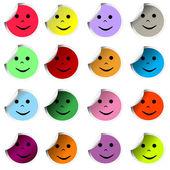 Pegatinas de colores con caras felices — Foto de Stock