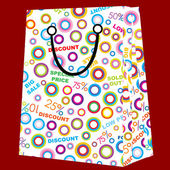 Shopping bag with sale announcements — Stock Photo