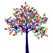 Abstract tree with all flags of the world - Stock Photo