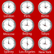 Stock Photo: Clocks showing time around world. Time zone.