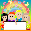 Stock Photo: Happy kids with banner and rainbow background