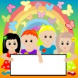 Happy kids with banner and rainbow background — Stock Photo