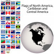 Stock Photo: Flags of North America, Carribean and Central America, the compl