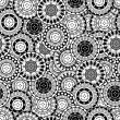 Stock Photo: Seamless pattern with black and white oriental motifs