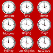 Clocks showing the time around the world. Time zone. — Stock Photo