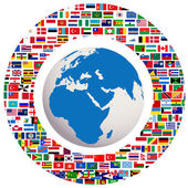 Earth globe with all flags — Stockfoto