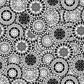 Seamless pattern with black and white oriental motifs — Stock Photo